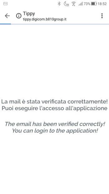 Tippy - Email verificata correttamente