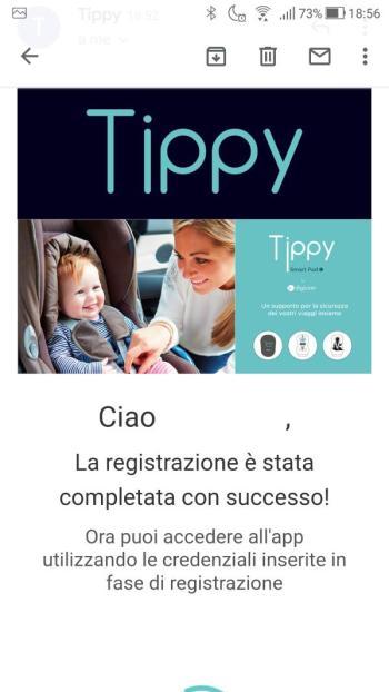 Tippy - Email verificata correttamente - Email ricevuta