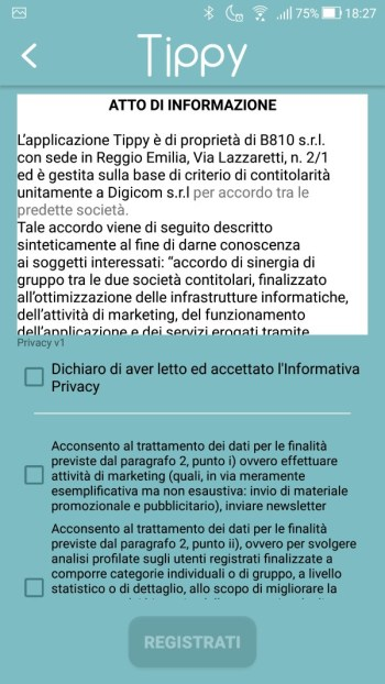 Tippy - Registrazione - Privacy
