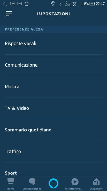 Amazon Echo - Preferenze Alexa