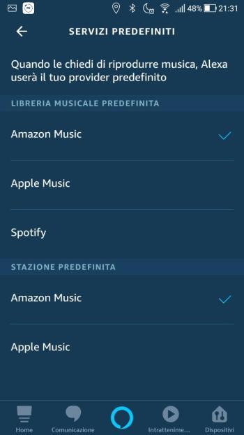 App Alexa - Musica - Servizi predefiniti