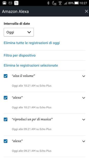 App Alexa - Rivedi la cronologia voce - Oggi