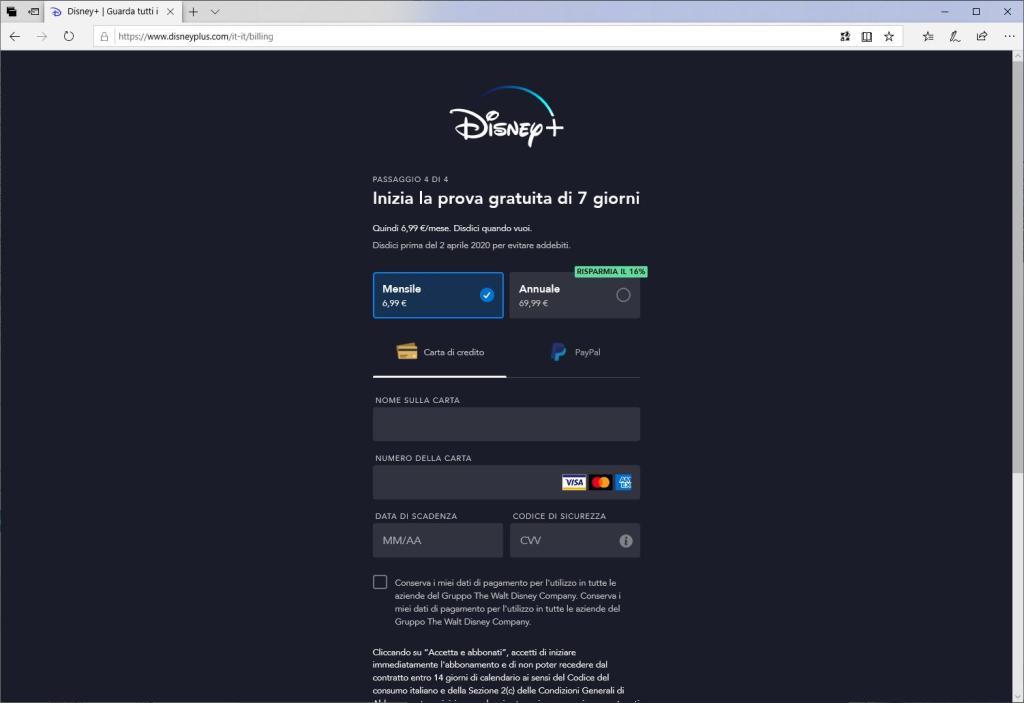 Disney+ - Inserisci una password - Metodo di pagamento