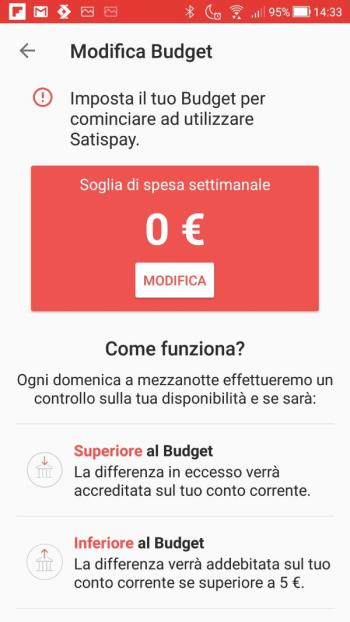Satispay - Modifica Budget