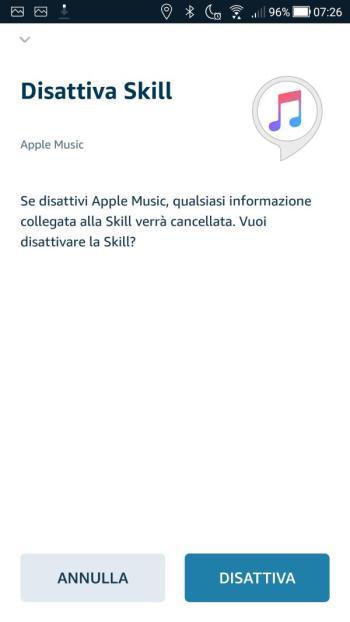 App Alexa - Apple Music - Disattiva Skill