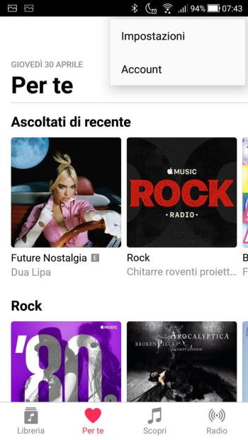 App Apple Music - Menù