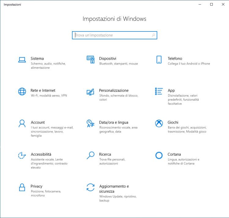 Microsoft Windows 10 - Impostazioni di Windows