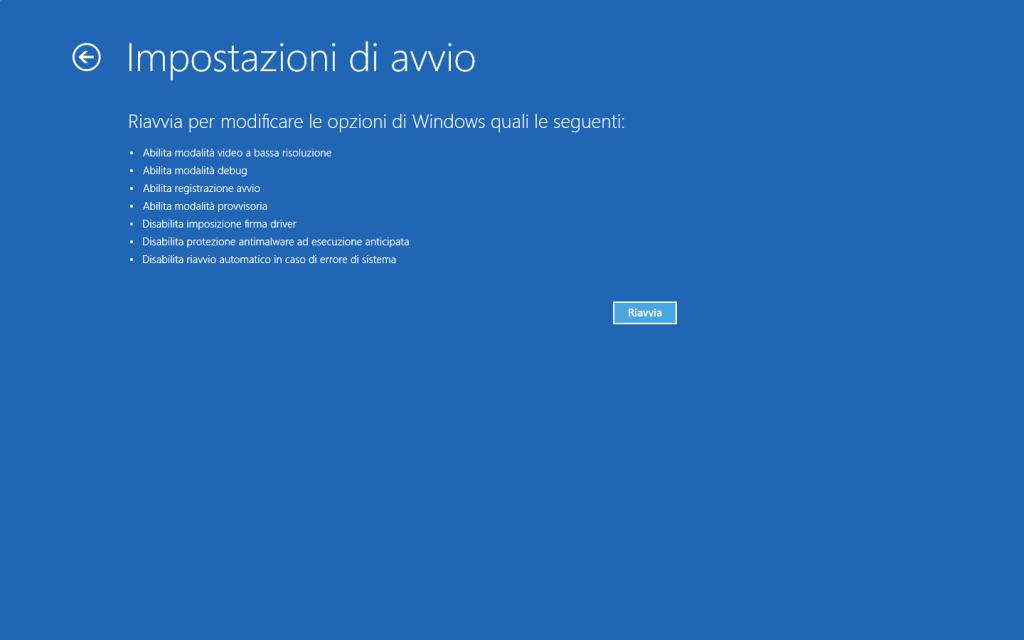 Windows 10 - Impostazioni di avvio