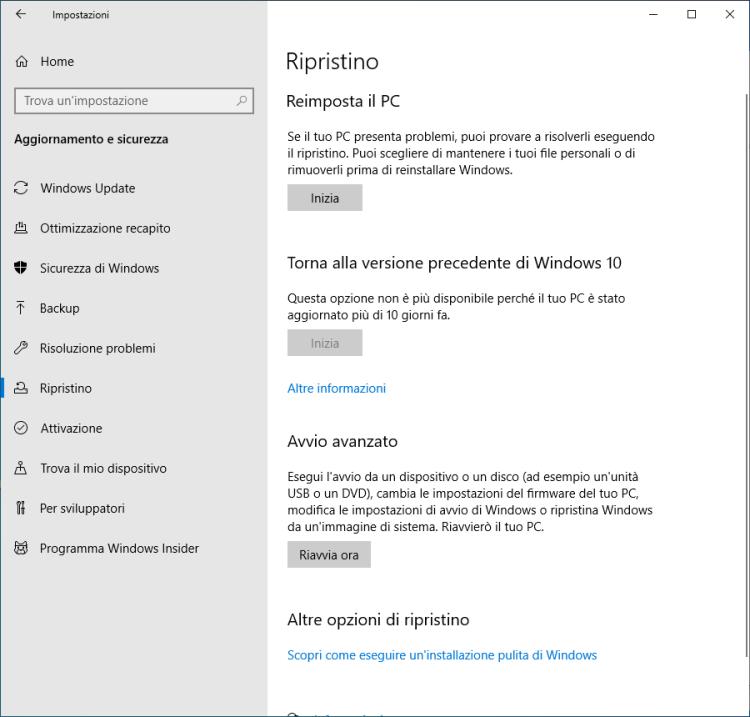 Windows 10 - Ripristino