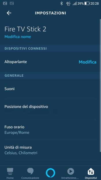 App Alexa - Impostazioni Fire TV Stick