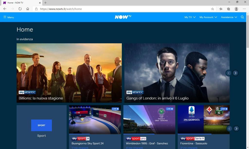 Now TV - Accesso effettuato al proprio account