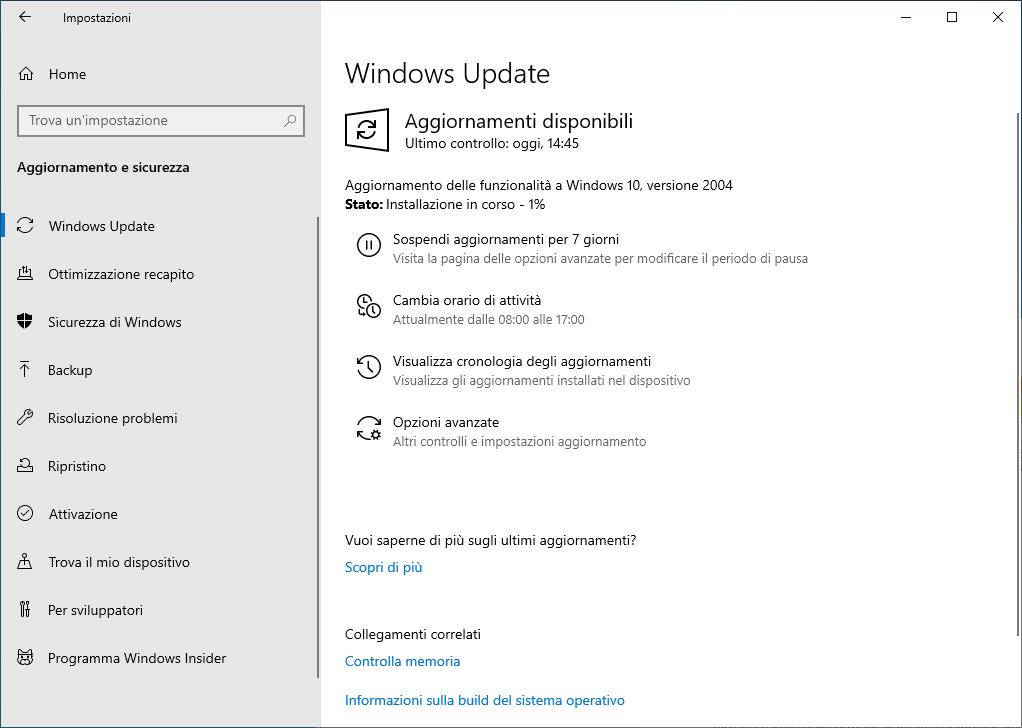 Windows 10 - Update - Installazione in corso