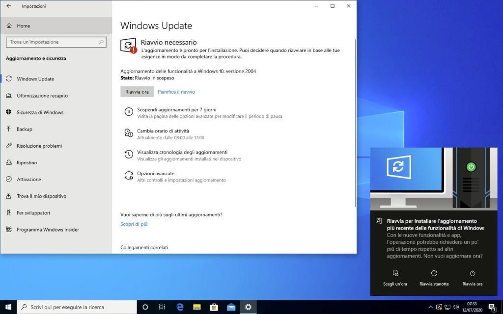 Windows 10 - Aggiornamento 2004 - Riavvio