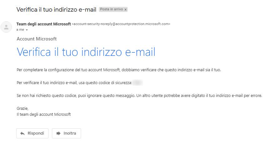 Microsoft Teams - Email codice di sicurezza