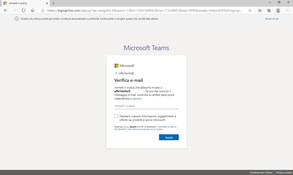 Microsoft Teams - Verifica Email