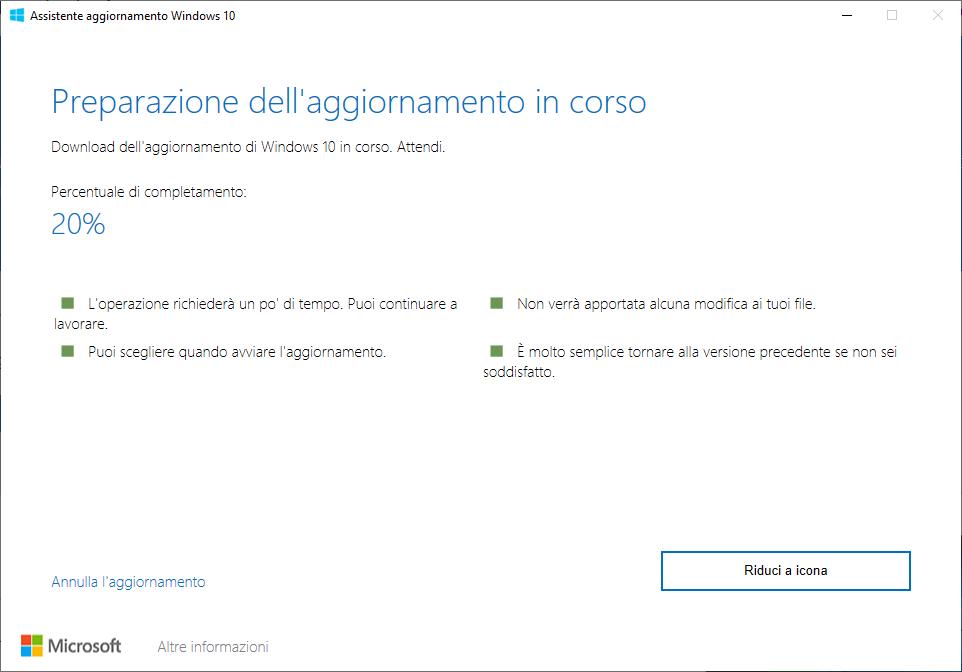 Windows 10 - 20H2 - Preparazione dell'aggiornamento in corso