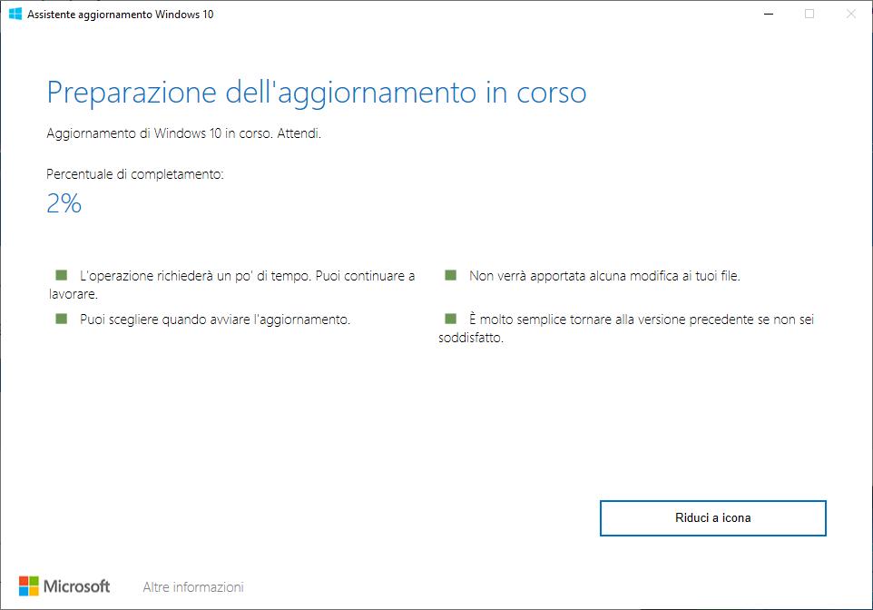 Windows 10 - 20H2 - Preparazione dell'aggiornamento in corso - Aggiornamento di Windows 10 in corso