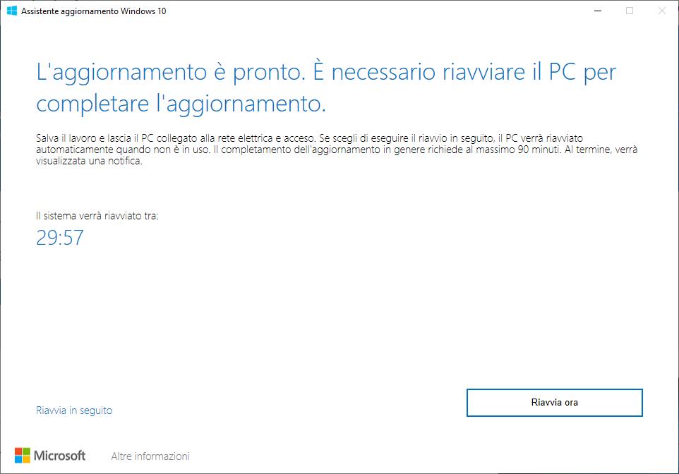 Windows 10 - 20H2 - Preparazione dell'aggiornamento in corso - Riavviare il PC per completare l'aggiornamento