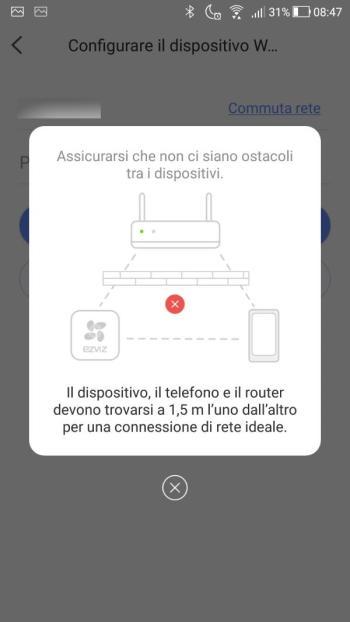 App EZVIZ - Configurazione accesso alla rete WiFi