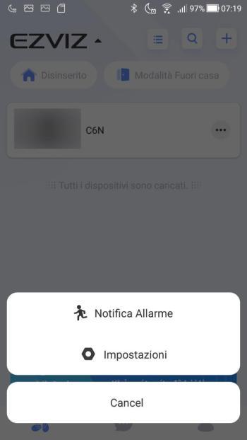 App EZVIZ - Menù contestuale dispositivo