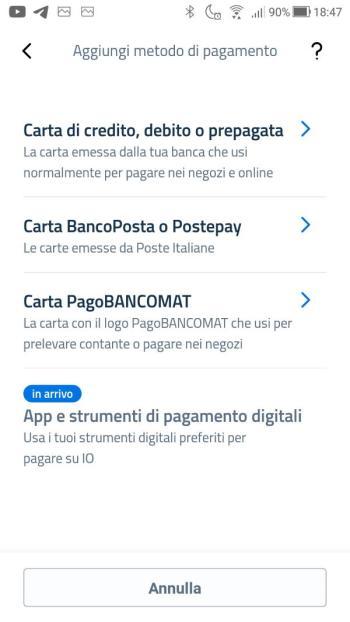 App IO - Cashback - Aggiungi metodo di pagamento