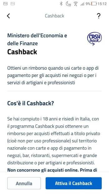App IO - Informativa CashBback