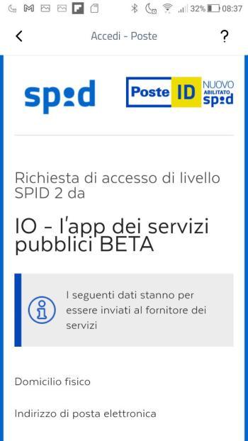 App IO - SPID - PosteID - Richiesta di accesso di livello SPID 2 - Dati inviati al fornitore dei servizi