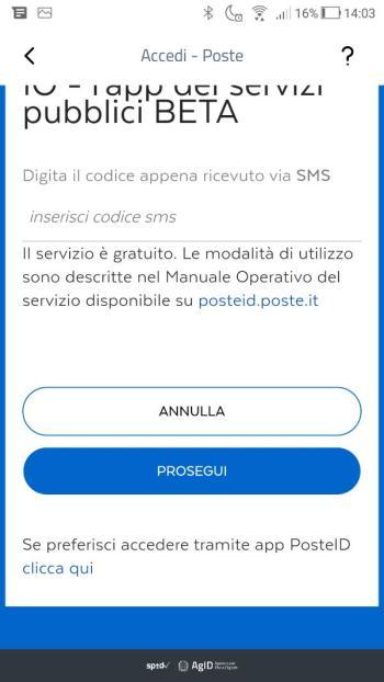 App IO - SPID - PosteID - Richiesta di accesso di livello SPID 2 Prosegui