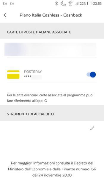App PostePay - Cashback attivato