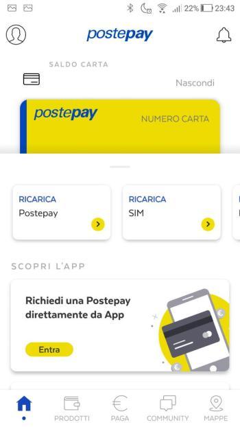 App PostePay - Home