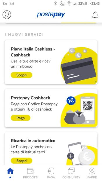 App PostePay - Home - I Nuovi Servizi