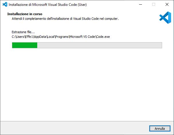 Windows - Visual Studio Code - Installazione in corso