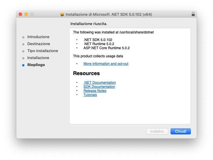 macOS - Microsoft .Net Framework - Installazione - Riepilogo