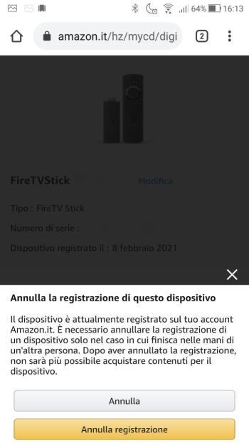 Amazon - Il Mio account - Dispositivi - Fire TV - Annulla la registrazione di questo dispositivo