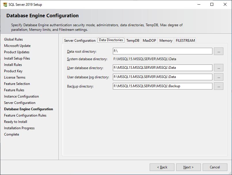 Microsoft Sql Server 2019 - Setup - Database Engine Configuration - Data Directories