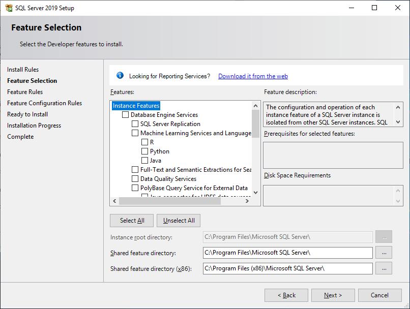 Microsoft Sql Server 2019 - Setup - Feature Selection