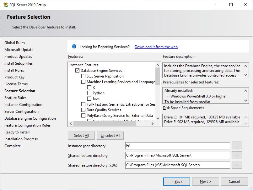 Microsoft Sql Server 2019 - Setup - Feature Selection - Database Engine Services 02