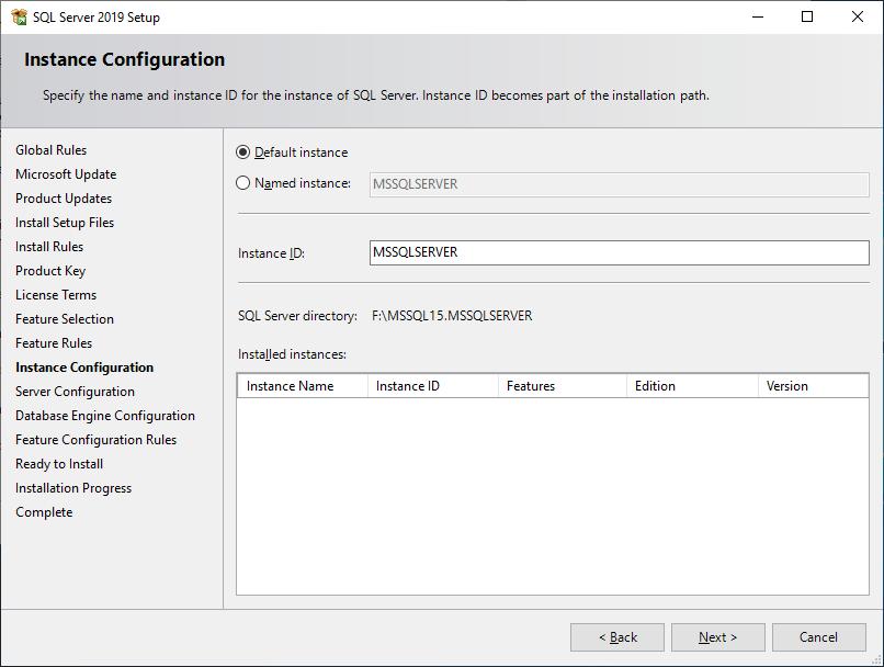 Microsoft Sql Server 2019 - Setup - Instance Configuration