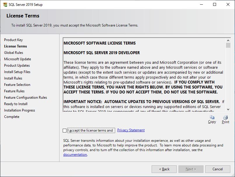 Microsoft Sql Server 2019 - Setup - License Terms