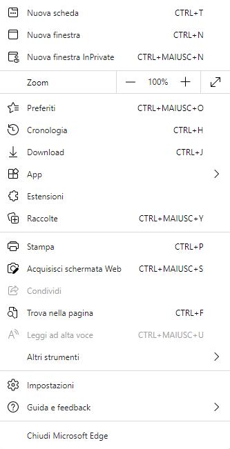 Microsoft Edge Chromium - Menù principale