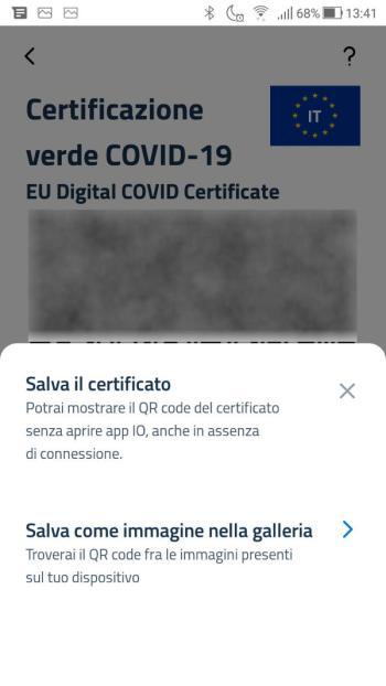App IO - Green Pass - Covid-19 - Salvataggio Certificato