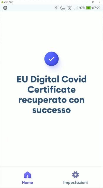 Immuni - Recupera EU Digital Covid Certificate - Codice Recuperato