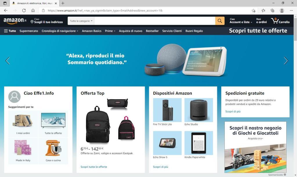 Amazon - Nuovo account creato