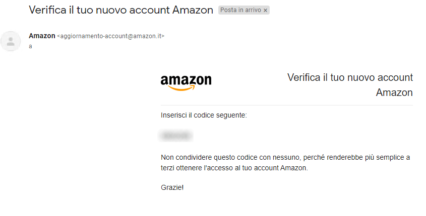 Amazon - Crea nuovo account - Email con codice verifica