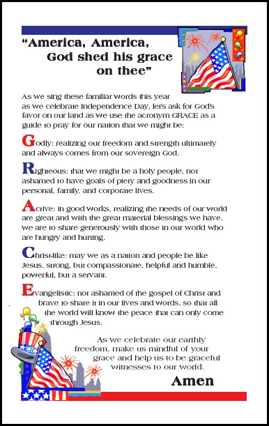 4th of July Prayer for God's Grace on us