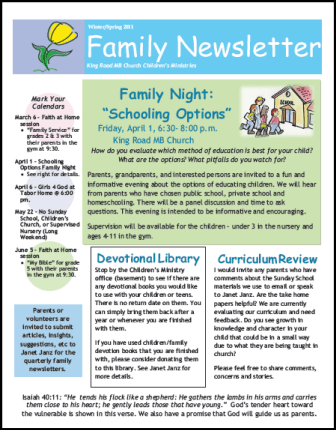 church newsletter samples three great ideas for your church - Newsletter Ideas