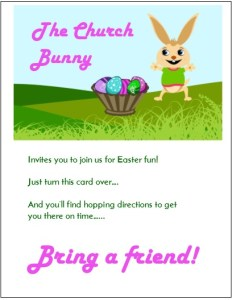 Easter Church Bunny Invitation for kids to invite friends for Easter