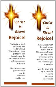 Church Bookmark that will help bring people back to church after Easter.