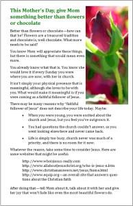 Bulletin insert for Mother's Day