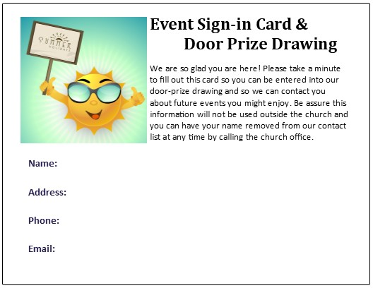 Summer Connection And Door Prize Drawing Cards Free Ms Publisher